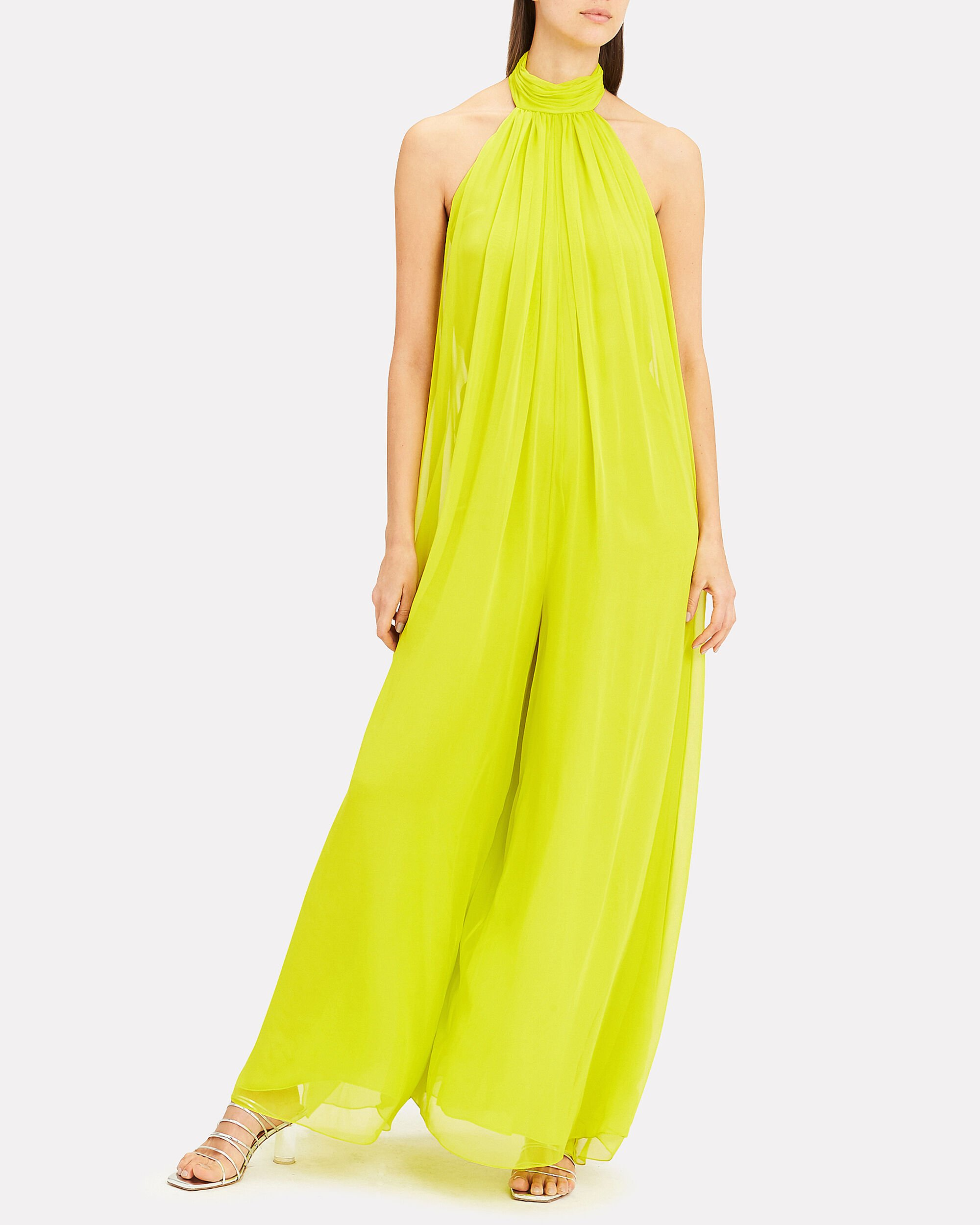 Leisha Lime Halter Jumpsuit, LIME GREEN, hi-res