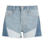 501 Patchwork Denim Shorts, MEDIUM BLUE DENIM, hi-res