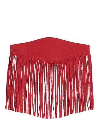 Fringe Leather Waist Belt, RED, hi-res