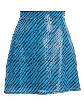 Libby Striped Sequined Mini Skirt, BLACK/BLUE, hi-res