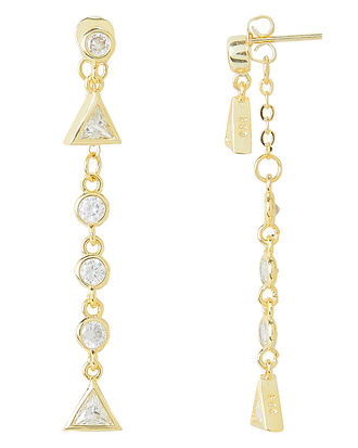 Pyramid Drop Earrings, GOLD, hi-res