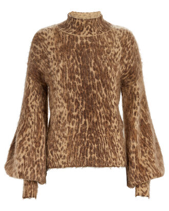 Espionage Bell Sleeve Sweater, BROWN/LEOPARD, hi-res
