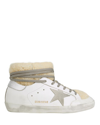 Superstar Shearling Leather Moon Boots, WHITE, hi-res
