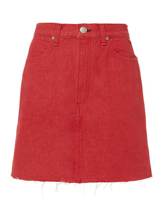 Moss Red Denim Mini Skirt, RED-DRK, hi-res