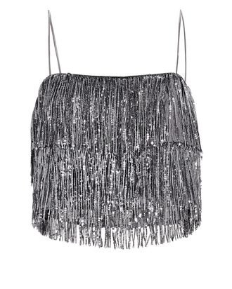 Melora Sequin Fringed Crop Top, SILVER, hi-res