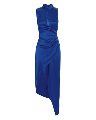 Ruched Cutout Satin Dress, BLUE, hi-res