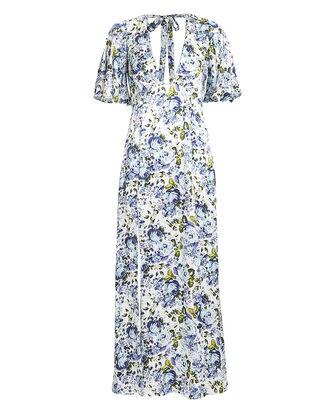 Floral Silk Maxi Dress, MULTI, hi-res