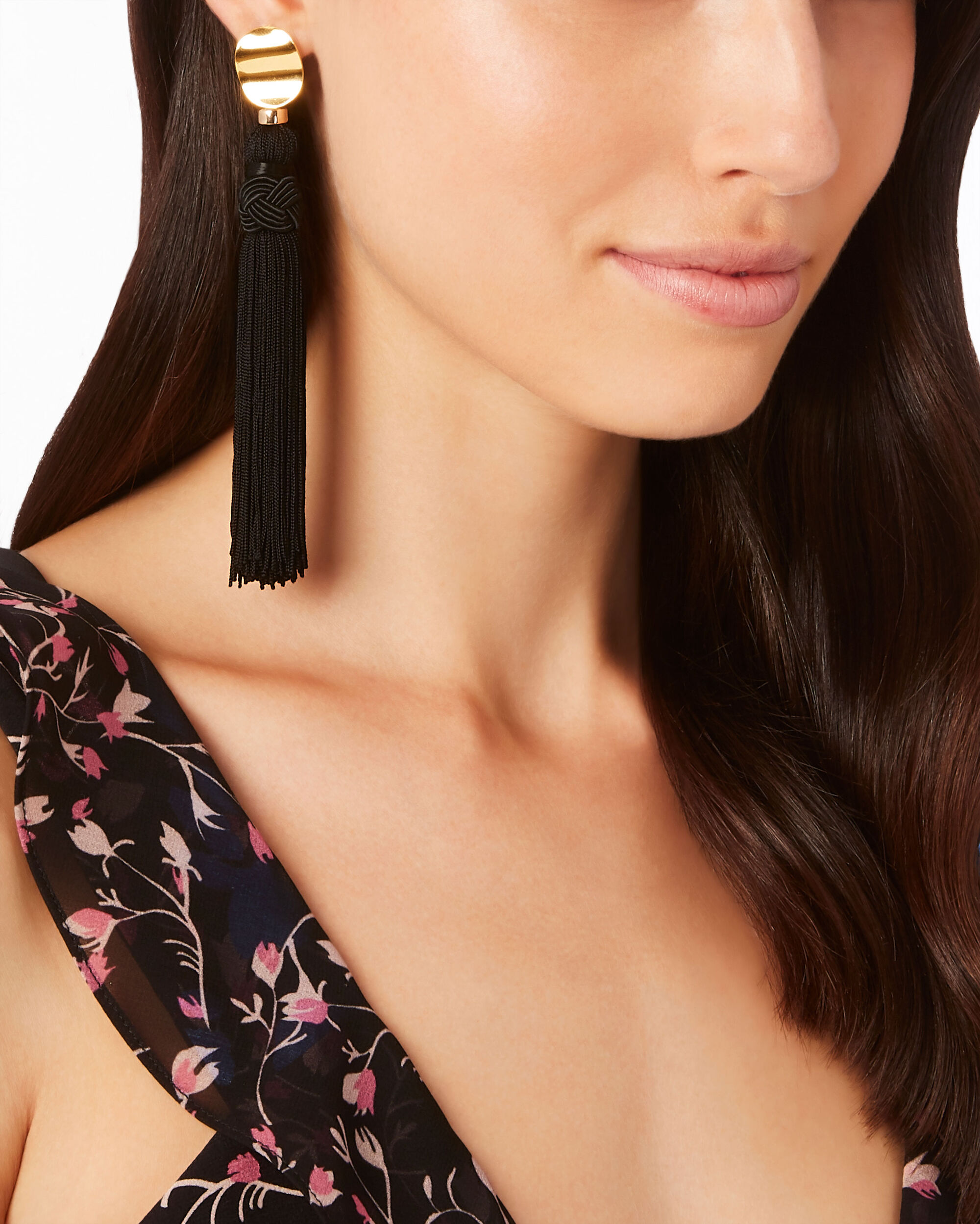 Sienna Tassel Earrings, BLACK, hi-res