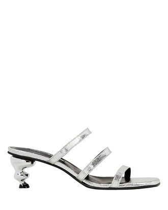 Gem Heel Silver Slide Sandals, SILVER, hi-res