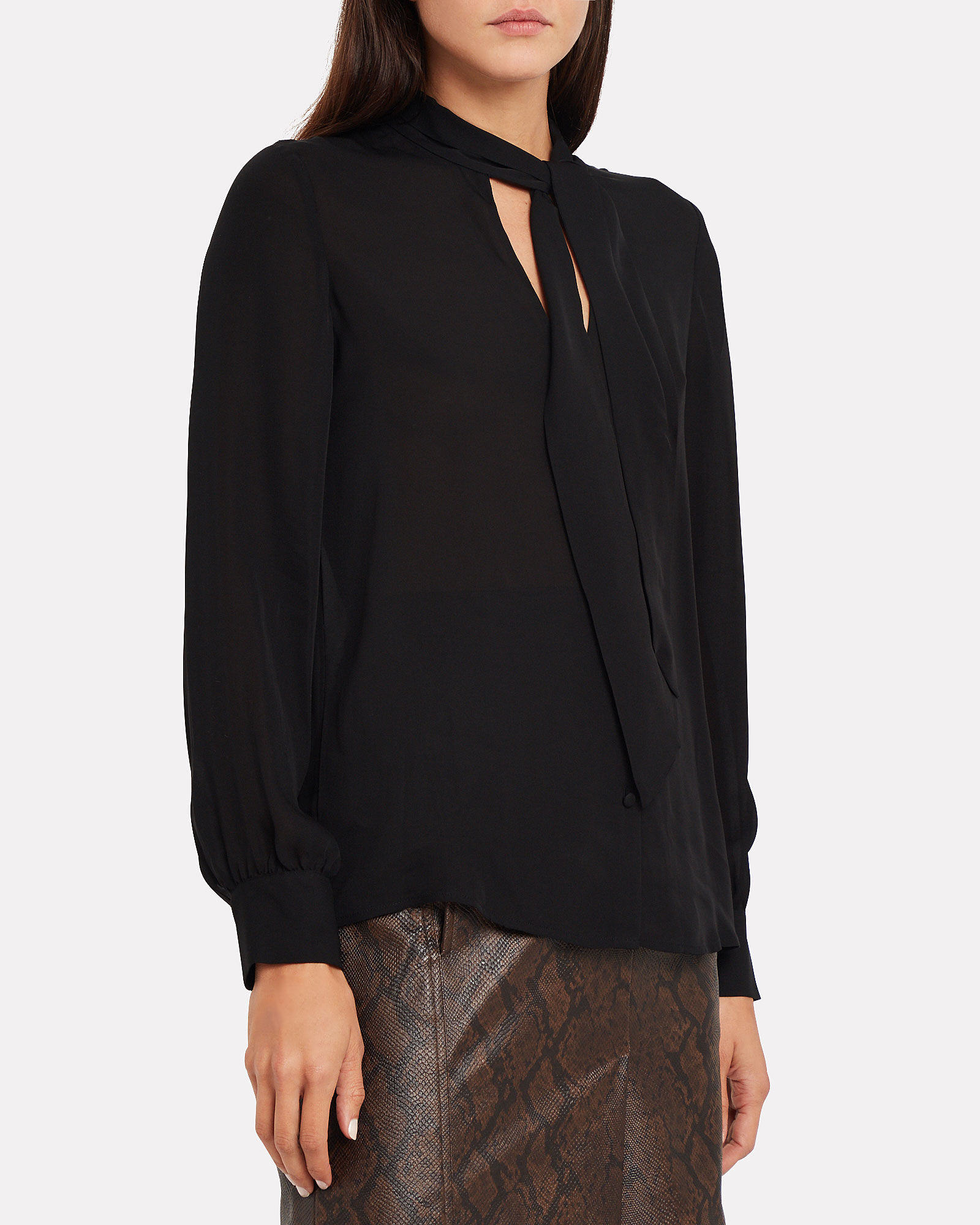 Sophie Tie Neck Blouse, BLACK, hi-res