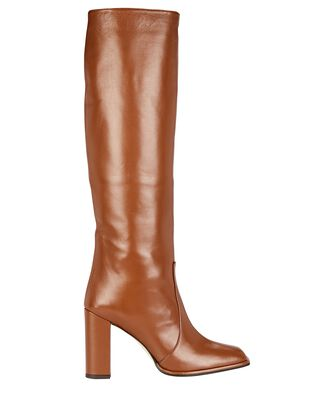 Leather Knee-High Boots, BROWN, hi-res