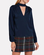 Elaine Silk Blouse, BLUE-DRK, hi-res