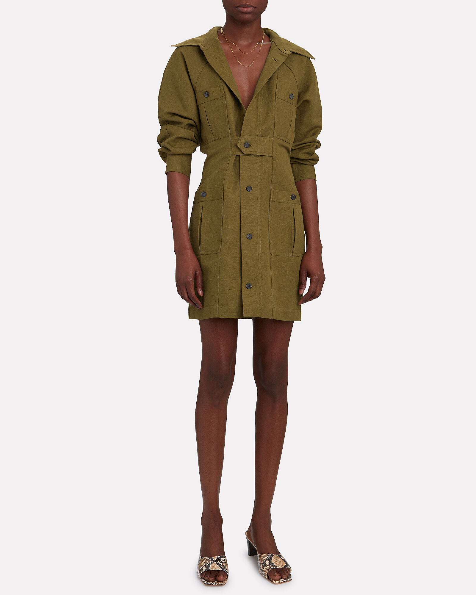 Ino Cotton-Linen Utility Dress, OLIVE/ARMY, hi-res