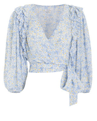 Tweggy Wrap Blouse, BLUE/FLORAL, hi-res