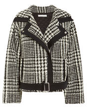 Houndstooth Belted Jacket, BLACK/WHITE, hi-res