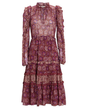 Alessandra Ruffled Floral Midi Dress, BURGUNDY/PURPLE, hi-res