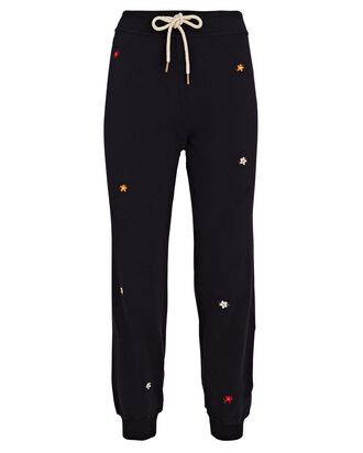 The Cropped Floral Embroidery Joggers, NAVY, hi-res