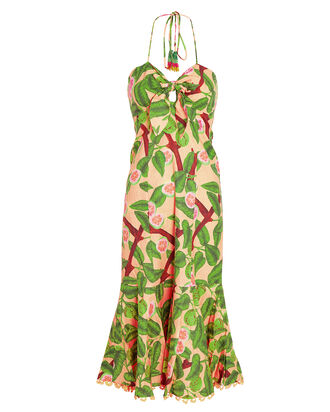 Guava Printed Halter Midi Dress, PINK/GREEN, hi-res