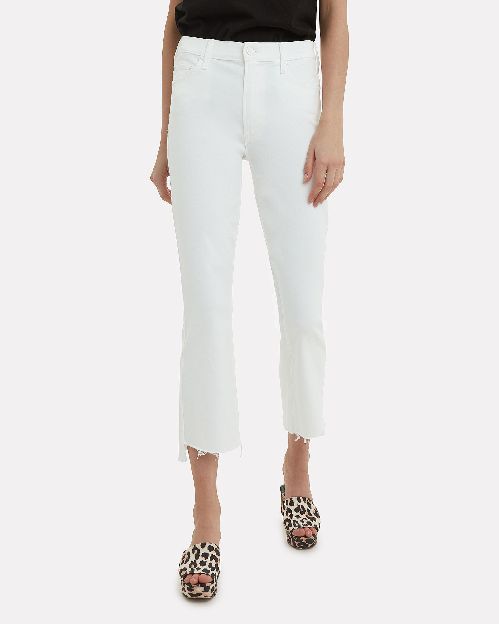 Crop Step Fray Jeans, WHITE, hi-res