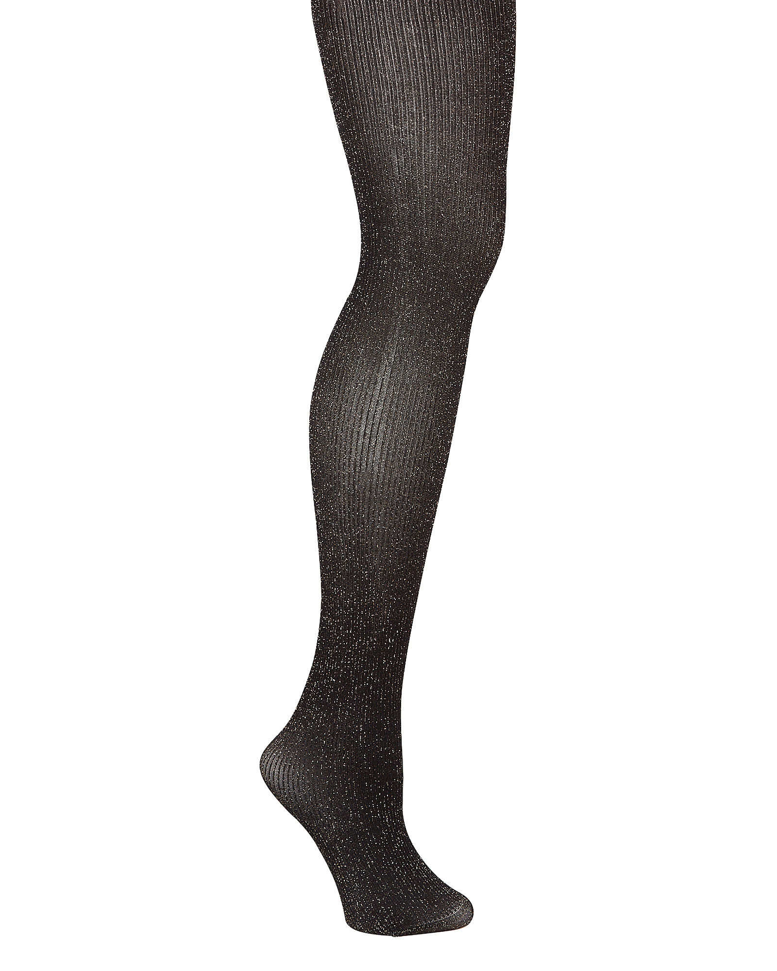 Opaque Metallic Rib Knit Tights, BLACK, hi-res
