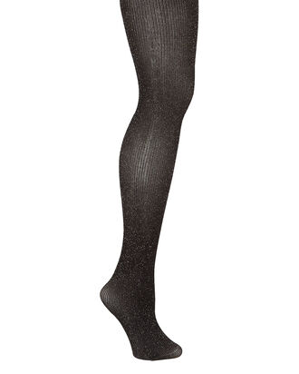 Opaque Metallic Rib Knit Tights, BLACK/GOLD, hi-res