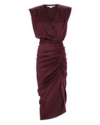 Casela Sleeveless Wrap Dress, BURGUNDY, hi-res