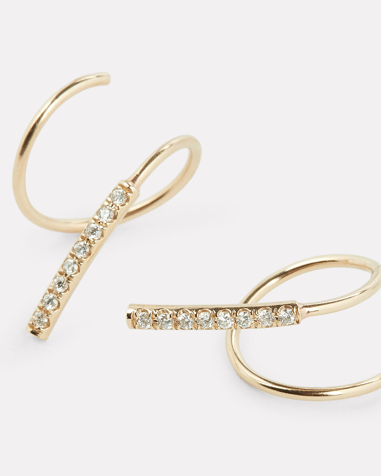 Pavé Diamond Swirl Earrings, GOLD, hi-res