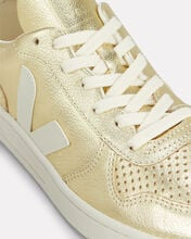 V-10 Perforated Gold Low-Top Sneakers, GOLD, hi-res