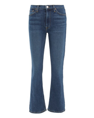 Comfort Stretch Kick Flare Crop Jeans, DENIM, hi-res