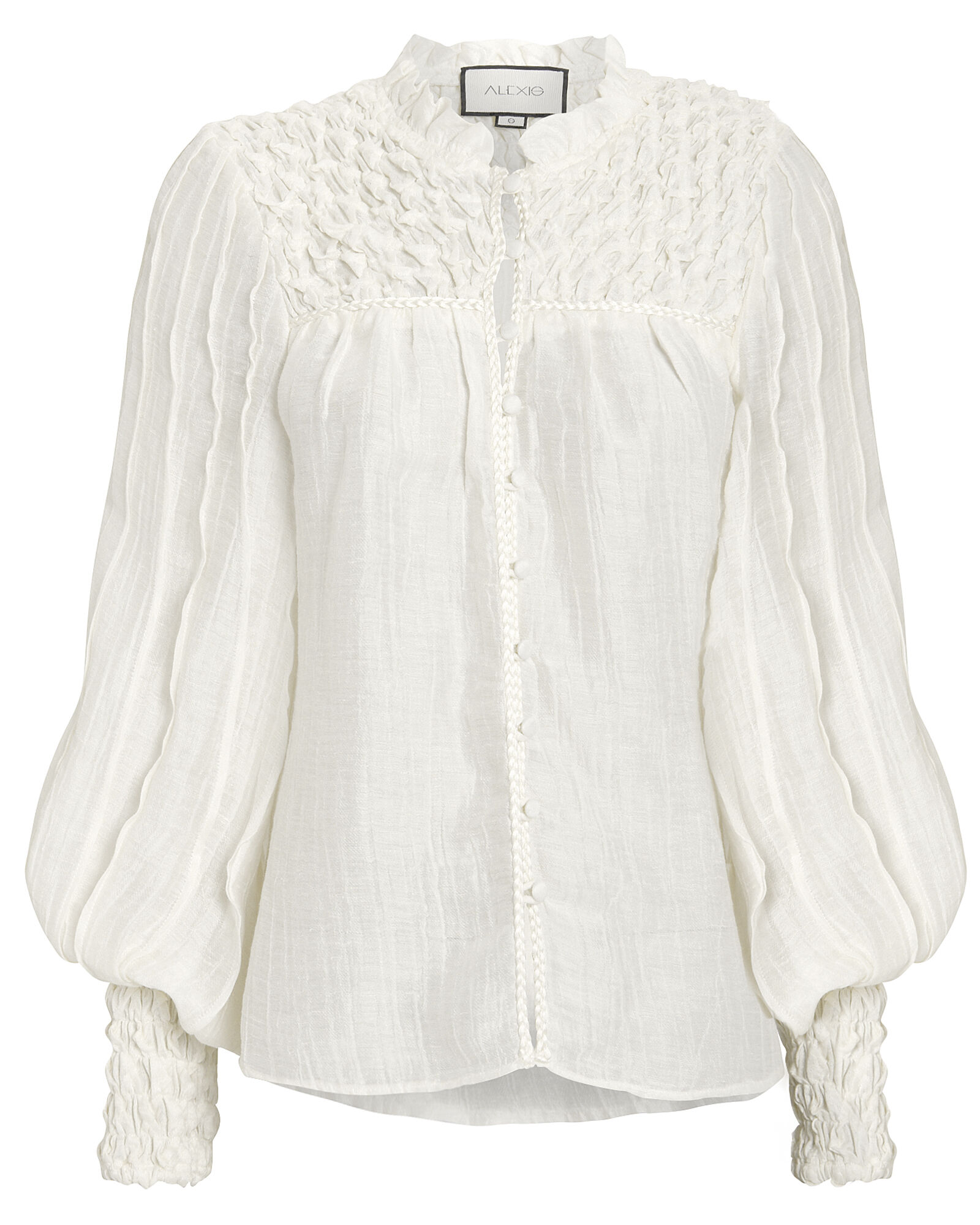 Minelli Smocked Button Front Blouse, WHITE, hi-res
