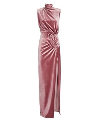 Billie High Neck Velvet Maxi Dress, PINK, hi-res