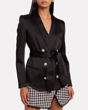 Double-Breasted Satin Wrap Blazer, BLACK, hi-res