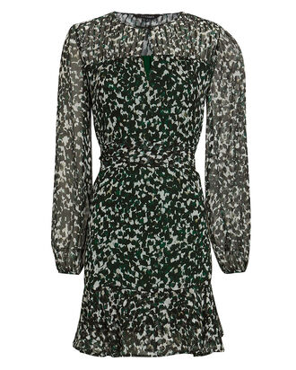 Paige Printed Silk Mini Dress, GREEN/PALE BLUE, hi-res