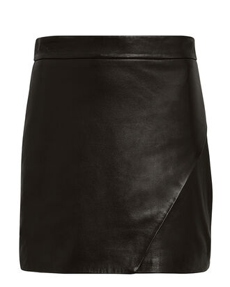 Wrap Leather Mini Skirt, BLACK, hi-res