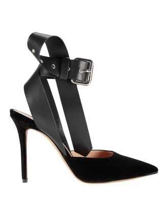 Buckle Ankle Strap Velvet Pumps, BLACK, hi-res