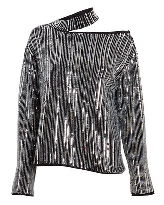 Langley Sequin Cut-Out Sweater, SILVER, hi-res