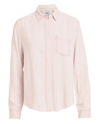Ingrid Raw Hem Shirt, PINK, hi-res