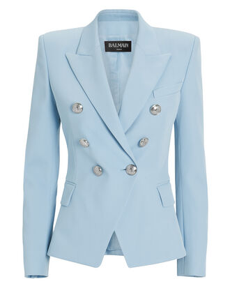 Blue Classic Double-Breasted Blazer, LIGHT BLUE, hi-res