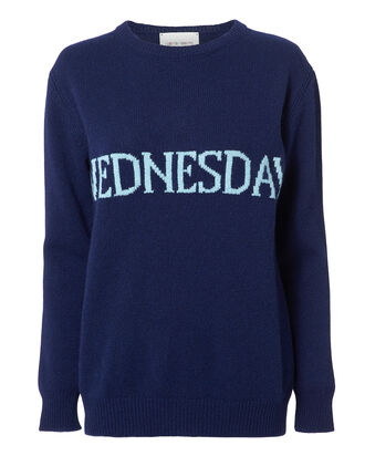 Wednesday Wool-Cashmere Crewneck Sweater, NAVY, hi-res