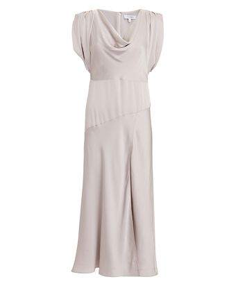 Lily Satin Cowl Neck Dress, IVORY, hi-res