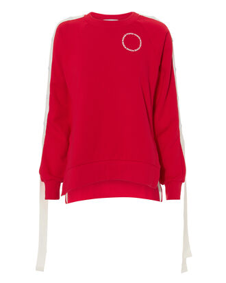Red Raglan Snap Sleeve Pullover, RED, hi-res