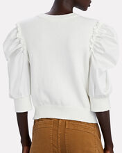 Tulip Puff Sleeve Sweater, WHITE, hi-res