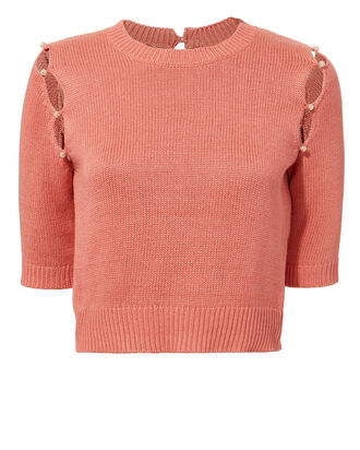 Pearl Embellished Knit Top, BLUSH, hi-res