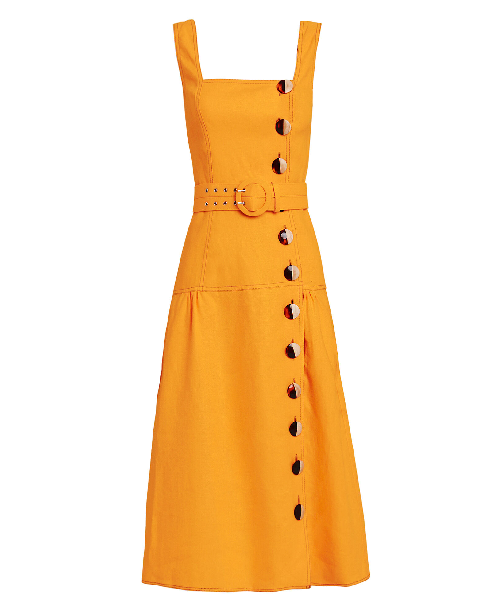 Pinafore Midi Dress, ORANGE, hi-res