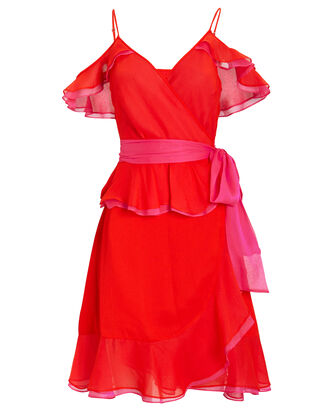Karla Flamenco Crepe Dress, PINK/MAGENTA, hi-res