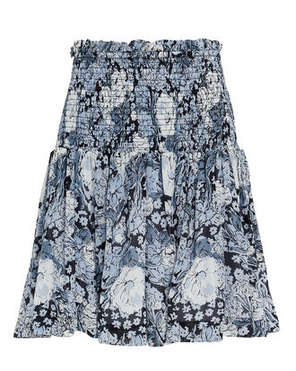 Printed Georgette Smocked Mini Skirt, BLUE FLORAL, hi-res