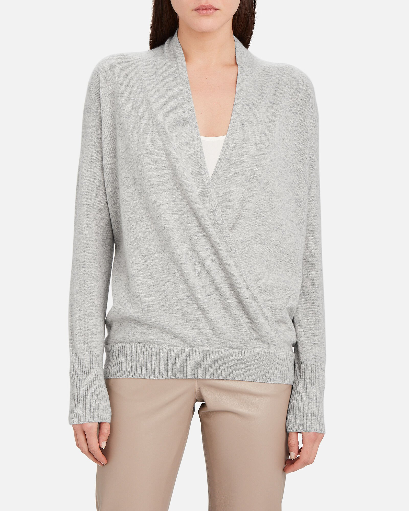 Looker Layered Wrap Sweater, GREY, hi-res