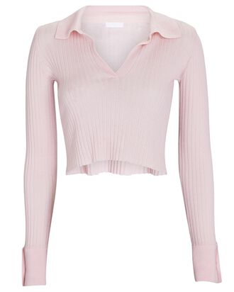 Irene Cropped Rib Knit Polo Top, PINK, hi-res