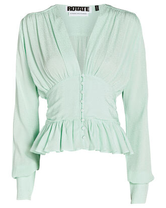 Tracy Draped Satin Blouse, PALE GREEN, hi-res