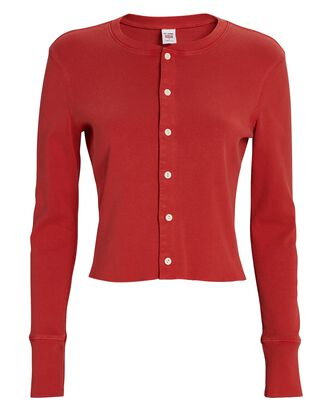 50s Cropped Cotton Cardigan, RED, hi-res